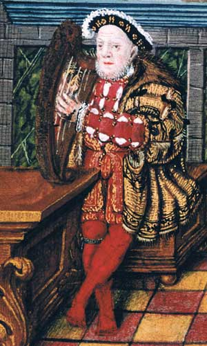 Henry the eighth playing a harp