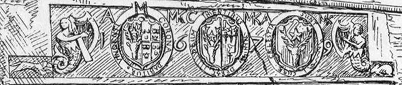 Detail drawing of the Kilcoy Castle mantle carving.