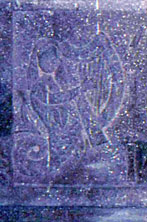 Detail of the mermaid on the left side of the Kilcoy Castle mantle carving.