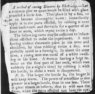 newspaper clipping about electric treatment