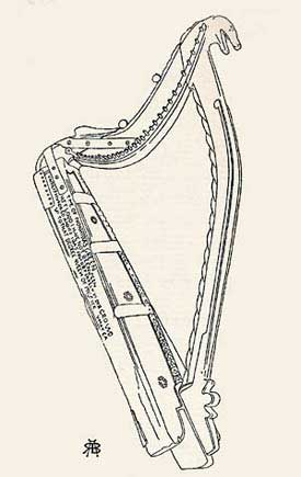 Drawing of the Downhill Harp from Armstrong
