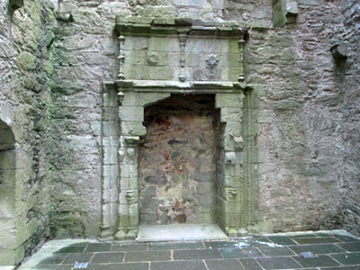 hall fireplace in castle
