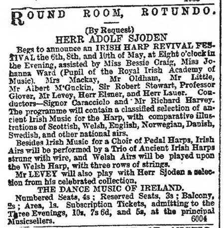 clipping from the April 24 advert for the Irish Harp Revival Festival