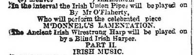 May 8 advert for the next concert of the Irish Harp Revival Festival