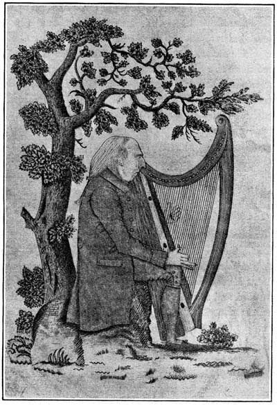 an engraving of O'Neill playing the harp