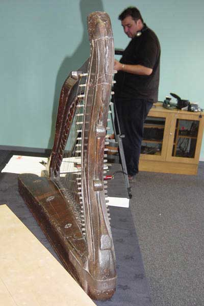 Photograph of the Downhill harp ready to be inspected