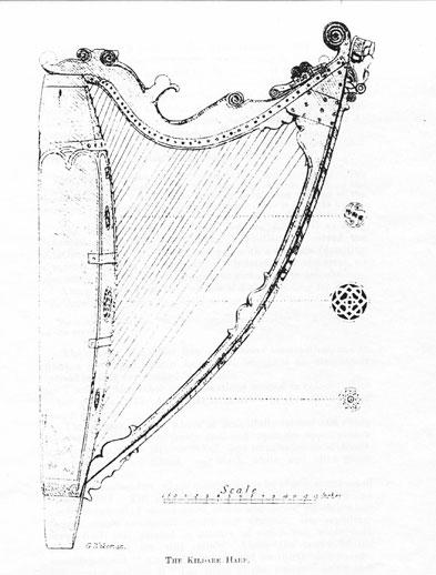 Wakeman drawing of the Kildare Harp