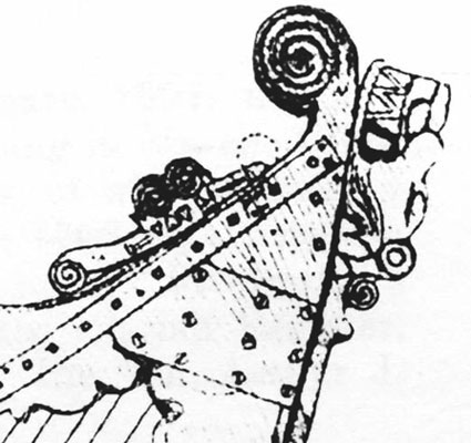 detail of a drawing showing the Kildare harp additional metalwork