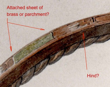 close-up detail showing the supposed parchment and hind.