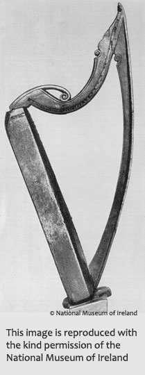 Image of the Mulagh Harp, © National Museum of Ireland