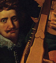 detail of the harp in Reinhold Timm painting of Christian iv's court musicians