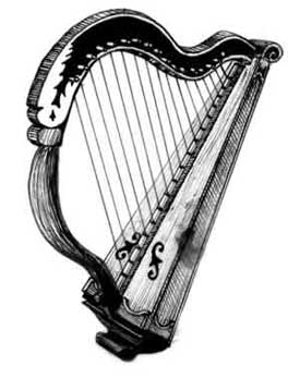Drawing of the harp