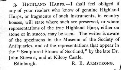 The advertisement that Robert Bruce Armstrong placed in 'Scottish Notes And Queries'